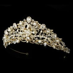 Just Stunning! Regal Freshwater Pearl and Crystal Gold Bridal Tiara  - Affordable Elegance Bridal