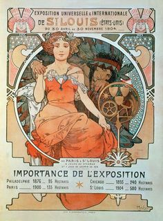 Universal and International Exhibition in St Louis, 1904 by Alphonse Mucha Art Deco Artwork, Cool Artwork, Vintage Posters, Vintage Art, Retro Posters, Art Posters, Vintage Photos, St Louis, Paris 1900