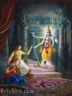When Lord Krishna took His birth as the son of Vasudeva and Devaki, He told them that He had appeared in His Vishnu form just to convince them that He was the same Supreme Personality of Godhead. Painted in 1977. Artwork [The Birth Of Lord Krishna] courtesy of The Bhaktivedanta Book Trust International, Inc. (www.krishna.com) Used with permission.