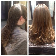 Client before and after. Medium length haircut with long layers.