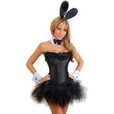 black playboy bunny corset costume with mini tutu or ruffle mini skirt - Halloween Costumes Playboy