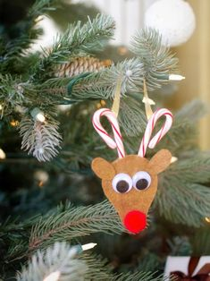 Trimming the tree just got a whole lot sweeter. Kids will love creating these reindeer ornaments using mini candy canes, felt, googly eyes and pom-poms.
