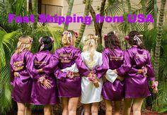 Bridesmaid Robes Set of Satin Bridesmaid Robes, Bridal Party Robes, Personalized Bridesmaid Robes, Bridesmaid Gifts Bridal Party Robes, Gifts For Wedding Party, Maid Of Honour Gifts, Maid Of Honor, Top Wedding Dresses, Wedding Gowns, Wedding Titles, Flower Girl Robes, Wedding Slippers
