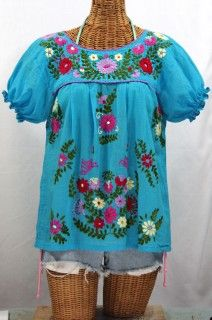 "Siren ""La Mariposa Corta"" Embroidered Mexican Peasant Blouse - Aqua Multi $48.95"