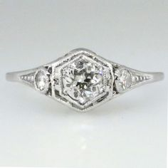 Truly Beautiful Art Deco Old European Cut Diamond Engagement Ring 14k | Antique & Estate Jewelry | Jewelry Finds