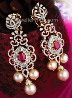 diamond earrings with pearl drops - Latest Jewellery Designs Diamond Earrings Indian, Diamond Jhumkas, Indian Jewelry Earrings, Diamond Earing, Ear Jewelry, Diamond Studs, Gold Jewelry, Jewelery, Diamond Jewelry