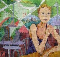 """Ruth Manning, """"Café in Guanajuato"""" (2011), 10"""" x 9.5"""""""