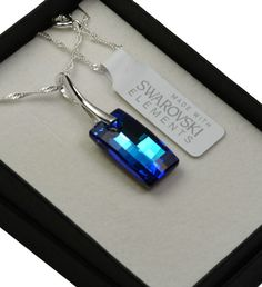 925 Silver Necklace made with Swarovski Elements Crystal * URBAN * Bermuda Blue #Handmade #NecklacePendant-*scrystals-$21.69