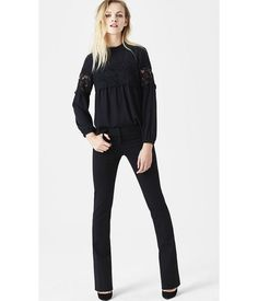 EXPRESS Womens Studio Stretch Barely Boot Columnist Pant Black 16