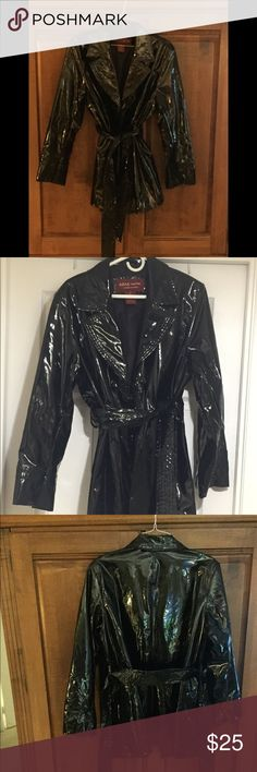 💦Essentials☔️ by Marc Mattis, Black Rain Coat Excellent Condition.  Sleek and Shiny black 3-button belted raincoat with pockets. MM Essentials by Marc Mattis Jackets & Coats