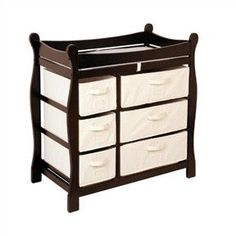 Dark Espresso Baby Changing Table with Storage Drawers