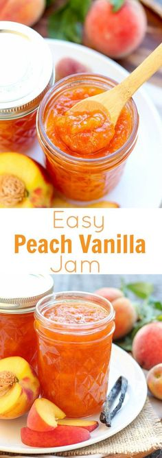 Easy Peach Vanilla Jam - This easy recipe is filled with fresh peaches and vanilla bean. This recipe requires only a few ingredients, and it is made without pectin or gelatin. Recipes with few ingredients Easy Peach Jam - Celebrating Sweets Jelly Recipes, Fruit Recipes, Drink Recipes, Chicken Recipes, Recipies, Peach Vanilla Jam, Peach Jelly, Peach Butter, Salsa Dulce
