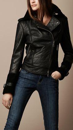 BURBERRY: Soft Shearling Biker Jacket [Black] $1795.00