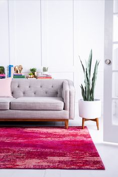 Style your living room in pink hues with our Barcelona Collection! Modern Room, Modern Living, Red Home Accessories, Large Rugs, Contemporary Style, Color Inspiration, Love Seat, Barcelona, Living Room