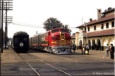 Streamliners, The Classic Passenger Train - The Santa Fe's eastbound San Francisco Chief eases into the classic mission-style station at Stockton, California led by during February of Train Map, Bnsf Railway, Burlington Northern, Train Pictures, Diesel Locomotive, Train Tracks, Rolling Stock, Model Trains, Santa Fe