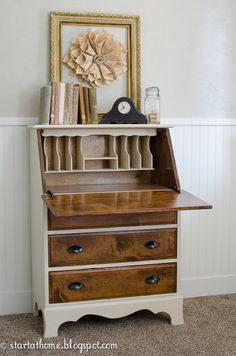Everyone tells me i can't paint my all wooden rolltop desk. This would be a beautiful compromise.