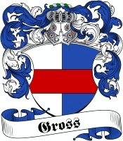 Gross Coat of Arms - Visit our website at www.4crests.com for lots of great products featuring this family coat of arms.  We carry glassware, rings, plaques, flags, prints, jewelry and hundreds of other Crest products. #coatofarms #familycrest #familycrests #coatsofarms #heraldry #family #crest #genealogy #familyreunion #names #history #medieval #german #familyshield #shield #crest #clan #badge #tattoo #jewelry #crafts #scrapbooking #scrapbook #gift #germany