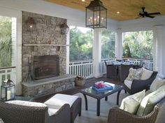 Fireplace on the deck - Houzz