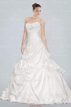 Fantastic Strapless A-line Wedding Dress Accented with Lace Detailing and Pick-ups