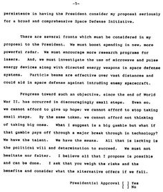 Edward Teller's memo to President Reagan requesting approval for Strategic Defense Initiative.  5 of 5.  Earthfiles.com