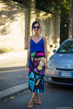 #NicoleWarne & that cool skirt in Milan. #GaryPepper