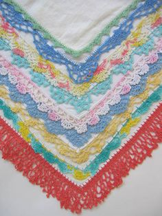 Colorful Edging around crochet handkerchiefs from Primrose Design