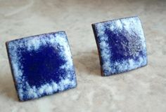 Blue and White Enameled Screw Back Square Earrings by cutterstone, $15.00