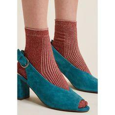 There's a Fine, Fine Shine Socks ($4.99) ❤ liked on Polyvore featuring intimates, hosiery, socks, shiny hosiery, sparkly socks and glossy hosiery