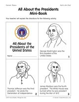 A mini-book about 11 U.S. Presidents including Abraham Lincoln and George Washington.