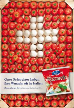 Ad campaign by Swiss milk producer Emmi for Mozzarella made from Swiss milk. Mozzarella, Swiss National Day, Geneva Switzerland, Lucerne, Swiss Alps, Snacks, Dishes, Bern, Cooking