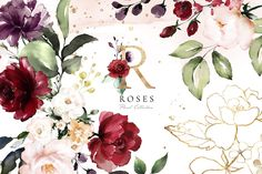 Roses - Watercolor Floral Collection This set include: + 45 PNG - floral arrangements (with watercolor flowers and gold) (transparent background) + 1 PSD files - Photoshop files with layers Creative Illustration, Watercolor Illustration, Graphic Illustration, Floral Watercolor Background, Watercolor Rose, Wreath Watercolor, Floral Texture, Art Vintage, Rose Leaves