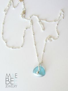 NEW! Silver tipped aqua blue seaglass necklace. www.jewelrybymaebee.etsy.com