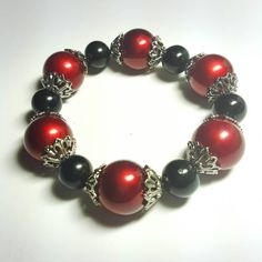 Only $6.79 on Etsy! - SALE Ultra Chic Gothic Large Crimson Red Pearl Stretch Bracelet w/Black Beads & Vintage Style Metallic Bead Caps Retro Pin Up FREE SHIPPING https://www.etsy.com/listing/260816889/sale-ultra-chic-gothic-large-crimson-red