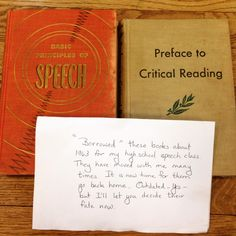 """""""'Borrowed' these books about 1963 for my high school speech class,"""" read a note with the books."""