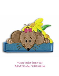 """Beautiful pocket topper applique that is 4.5"""" long. It matched the Country Mouse Collection. Free to use. This is one 5""""x7"""" Design."""