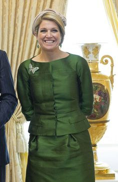 Queen Maxima Photos - Queen Maxima of The Netherlands is seen at the Palace of The Grand Dukes during a one day visit of the King and Queen to Luxembourg on May 2013 in Luxembourg. Denmark Fashion, Corporate Fashion, Peplum Dress, Shirt Dress, Three Daughters, Queen Maxima, Royal Fashion, Hats For Women, Netherlands