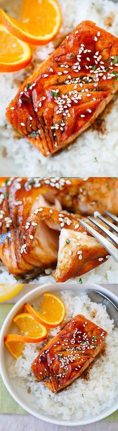 Salmon with Orange Teriyaki Glaze – the easiest and tastiest salmon you'll ever make. Juicy and delicious salmon with orange teriyaki sauce | rasamalaysia.com