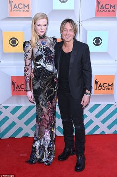 Going the distance: Keith has been married to Australian actress Nicole Kidman (left) for almost 10 years, and she supported him as he performed at the 51st Academy of Country Music Awards in Las Vegas this month