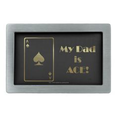 Happy Father's Day Dad with ace poker card Rectangular Belt Buckle