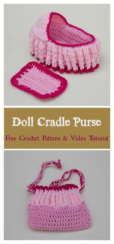 Doll Cradle Purse Free Crochet Pattern and Video Tutorial #freecrochetpatterns #toys #purse