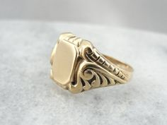 Retro Era Victorian Style Chased Signet Ring by MSJewelers on Etsy