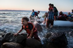 A group of Syrian refugees arrive on the island of Lesbos after traveling in an inflatable raft from #Turkey, near Skala Sykaminias, #Greece. (UNHCR/Andrew Connell) #migrants #refugees #syria
