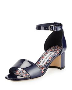 Lauratom Shimmer Patent Ankle-Wrap Sandal by Manolo Blahnik at Neiman Marcus.