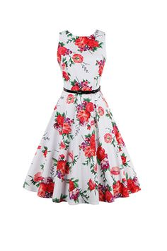 Vintage Sleeveless Round Collar Floral Print Pleated Women's Dress