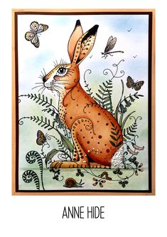 Meadow Hare stamp including bonus fabric Watercolor Fabric, Watercolor Cards, Fabric Painting, Handmade Birthday Cards, Handmade Cards, Lavinia Stamps, Ink Stamps, Card Making Techniques, Stamp Making