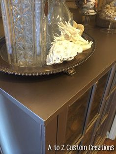 Boxed Store Cabinet Meets Modern Masters Metallic Paint-Makeover by A to Z Custom Creations