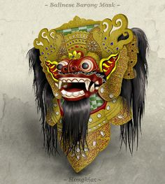 Have you heard of or seen a Balinese Barong Mask? The Barong mask is worn by dancers who portray the good spirit (Barong) in its eternal battle against Scary Tattoos, Bali Lombok, Mask Drawing, Barong, Scary Monsters, Good Spirits, Balinese, Art Portfolio, Photoshop Tutorial