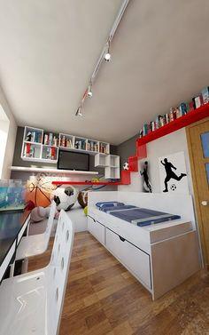 Z prośbą o pomoc w aranżacji pokoju zgłosiła się do nas mama dwóch chłopców. Pokój w kształcie prostokąta o wymiarach 2,7x3,6 m to zdecydowania zbyt mała przestrzeń dla dwójki dorastających… Bunk Beds, Loft, Furniture, Design, Home Decor, Decoration Home, Loft Beds, Room Decor, Lofts
