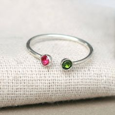 dual birthstone ring two birthstone ring by MeadowbelleMarket, $49.00