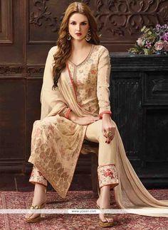 Pleasing Georgette Cream Print Work Pant Style Suit Model: YOS7036